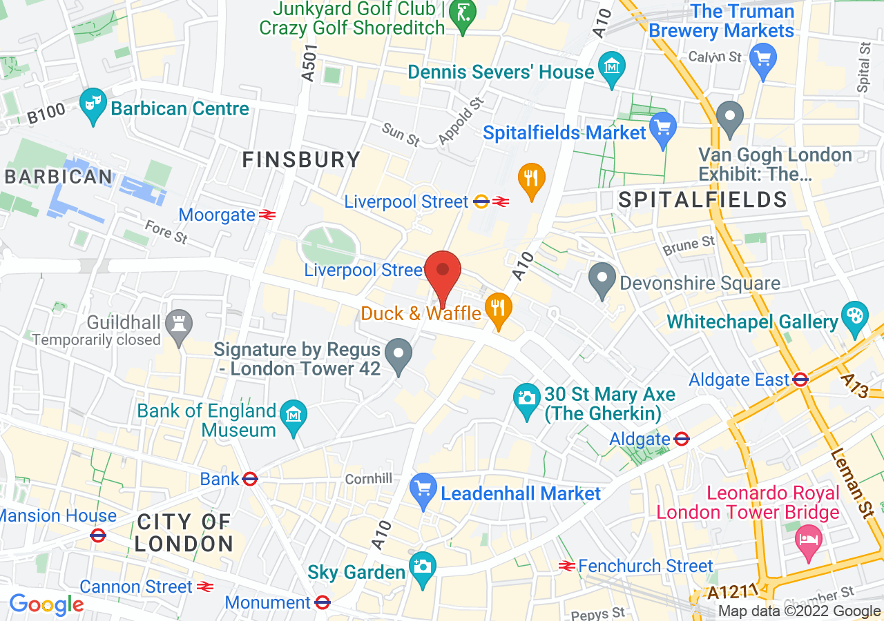 The location of The Victorian Bath House Bishopsgate