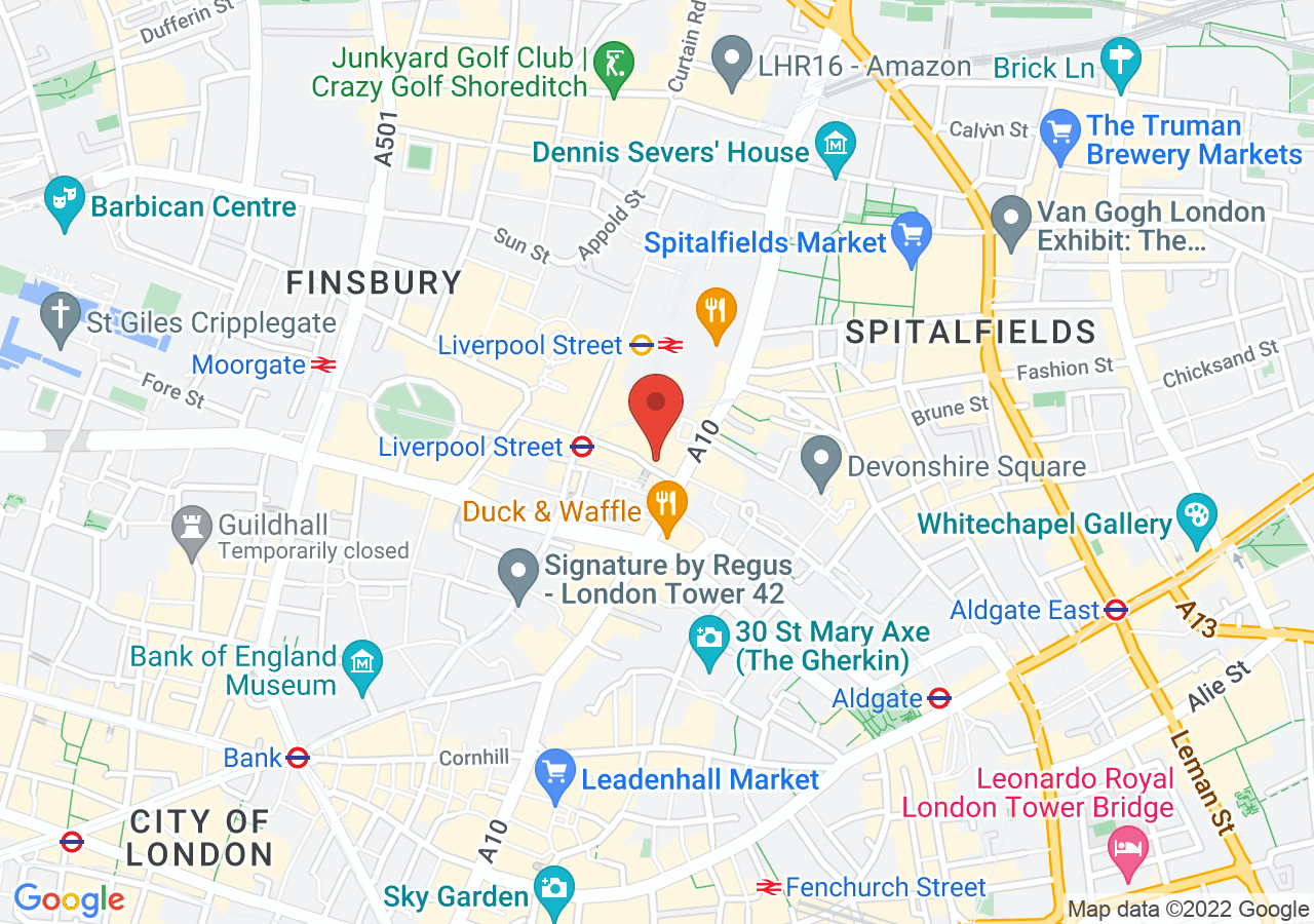 The location of Andaz London Liverpool Street