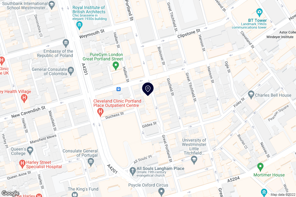 111 Great Portland Street, Marylebone, W1W 6QQ map