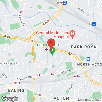 Map of Burger King at Royale Leisure Park, Kendal Avenue, London,  W3 0PA