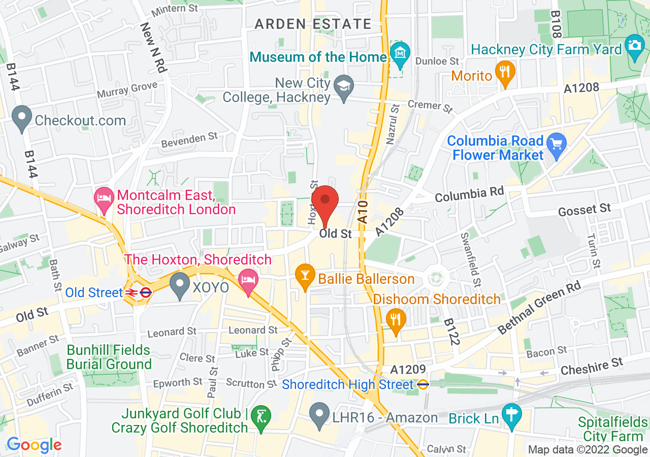 The location of Courthouse Hotel Shoreditch