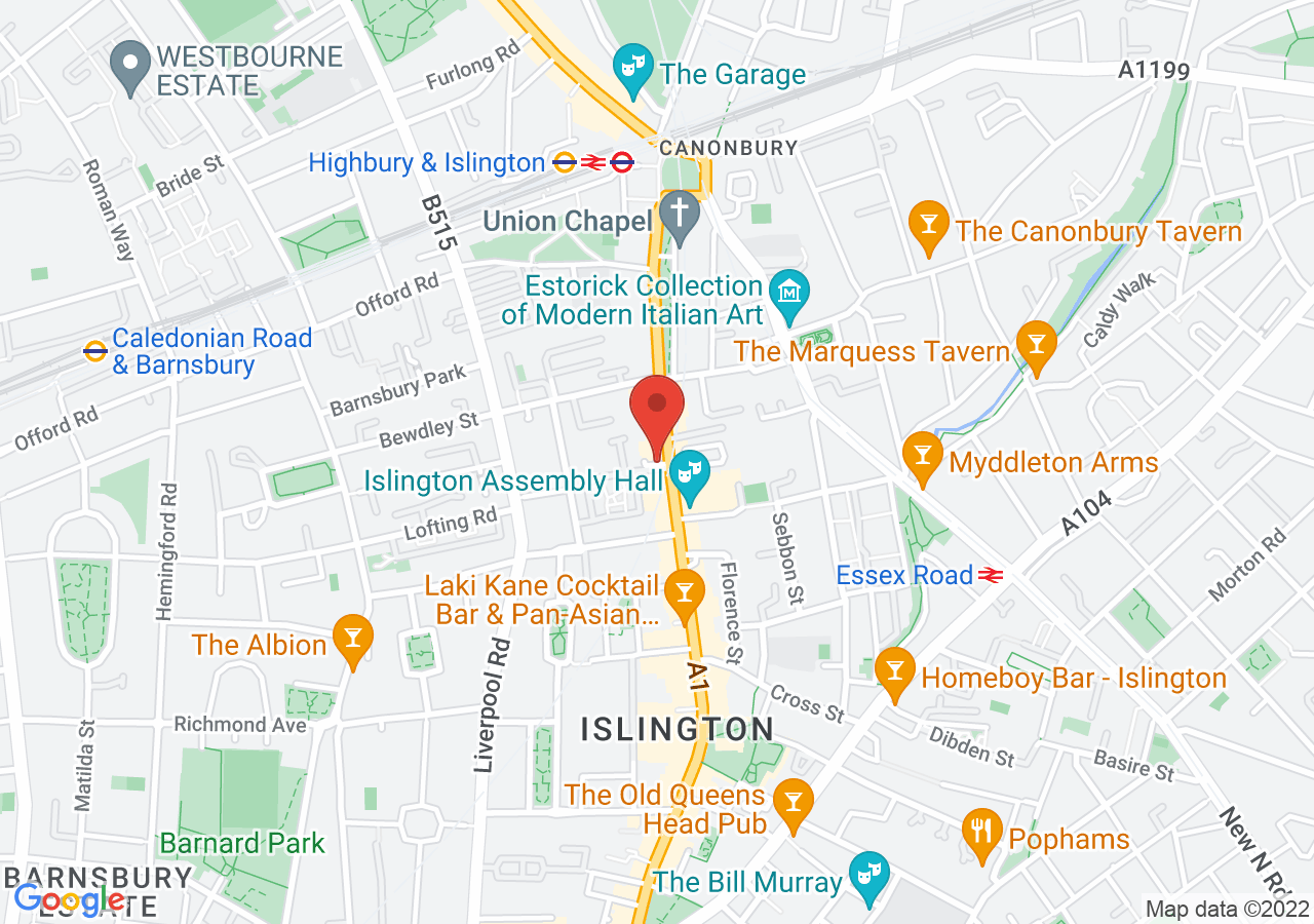The location of Upper House Islington