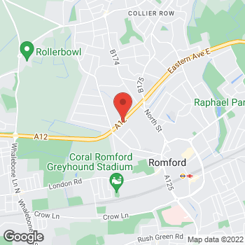 Map of Burger King at Eastern Avenue Retail Park, Romford,  RM7 7JJ