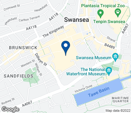 Map of The Quadrant Centre in Swansea