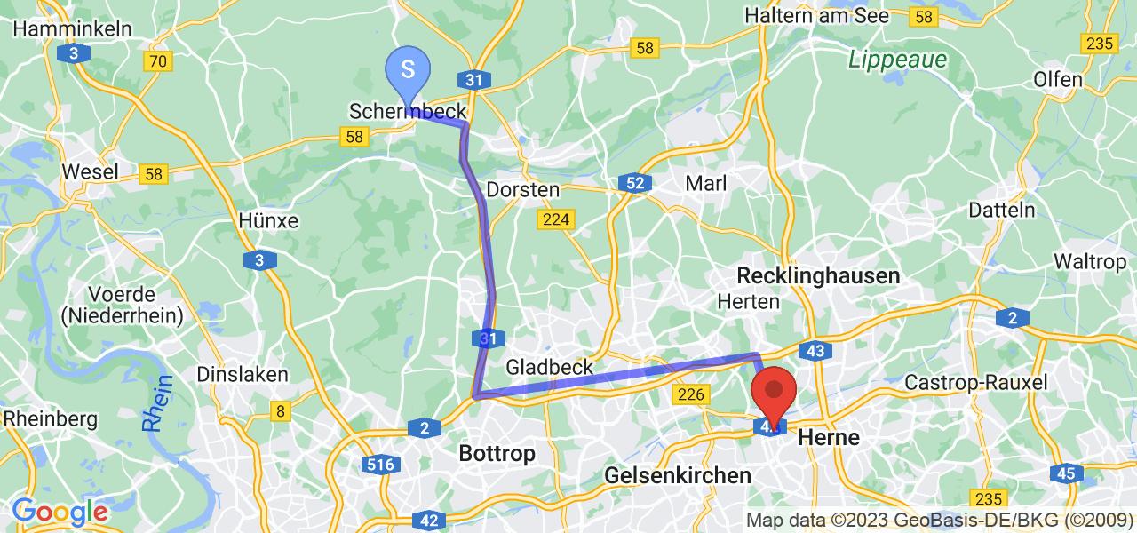 Route von Schermbeck nach Herne, NRW - Ruhrgebiet