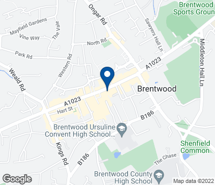 Map of 36A High Street in Brentwood