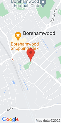 Map showing the location of the Hertsmere Borehamwood 1 [Closed] monitoring site