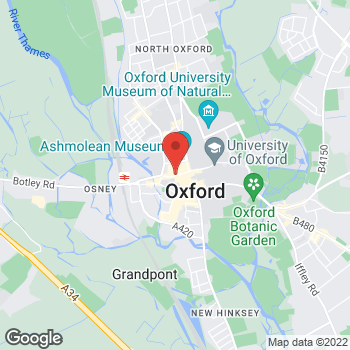Map of STA Travel at 36 George Street, Oxford, Oxforshire OX1 2BJ