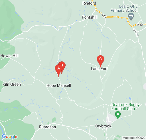 Map showing Hope Mansell area