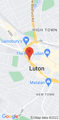 Map showing the location of the Luton Dunstable Road East monitoring site
