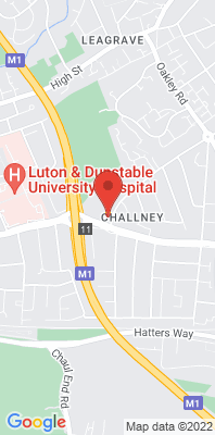Map showing the location of the Luton Challney Community College [Closed] monitoring site
