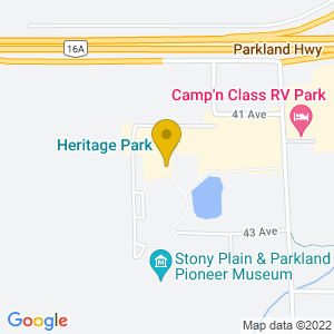 Map to Heritage Park Stony Plain provided by Google