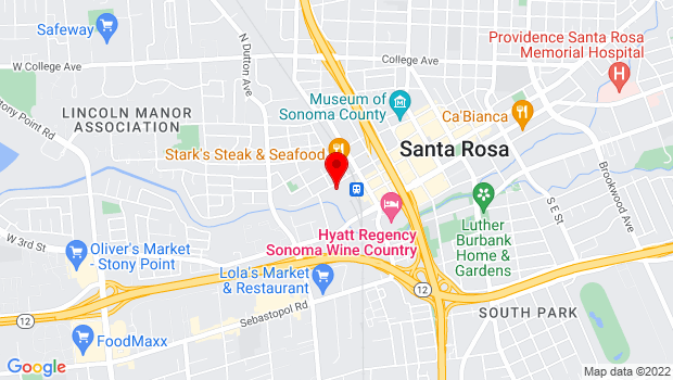 Google Map of 52 West 6th Street, Santa Rosa, CA 95401