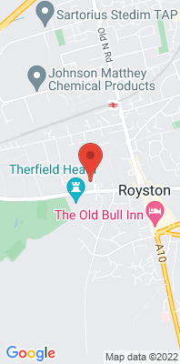 Map showing the location of the North Herts Royston [Closed] monitoring site
