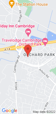 Map showing the location of the S Cambs Orchard Park School 2 monitoring site