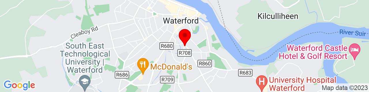 Google Map of 52.25425, -7.1089361111111105