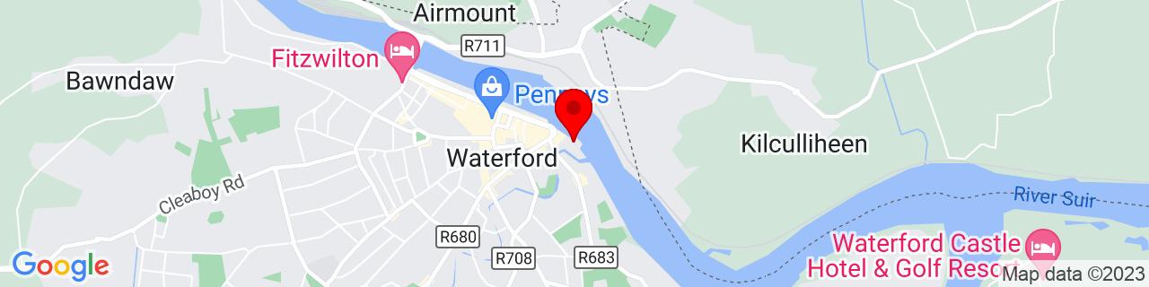 Google Map of 52.259797222222225, -7.103258333333333
