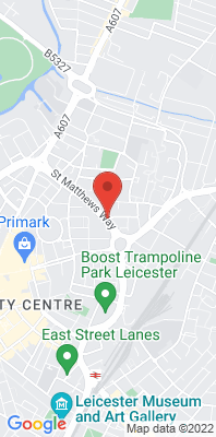 Map showing the location of the Leicester A594 Roadside monitoring site