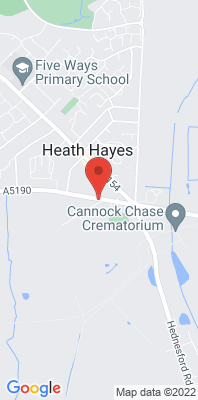 Map showing the location of the Cannock A5190 Roadside monitoring site