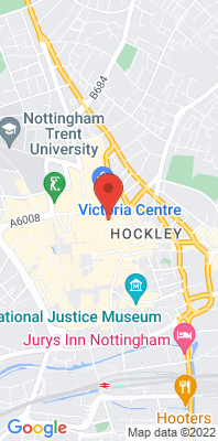 Map showing the location of the Nottingham Centre monitoring site