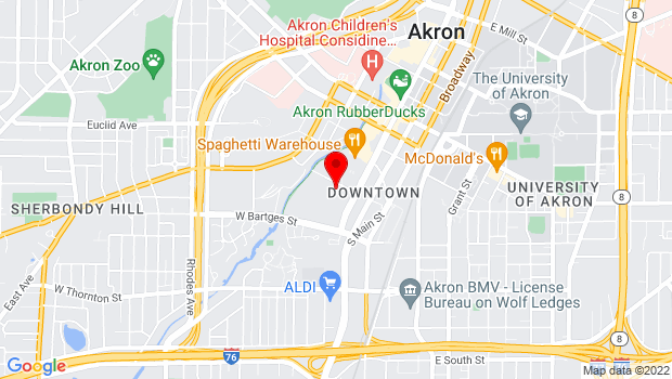 Google Map of 526 South Main St., #217, Akron, OH 44311
