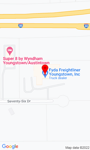 Google Map of Fyda Freightliner Youngstown, Inc. 5260 76 Drive, Youngstown, OH, 44515