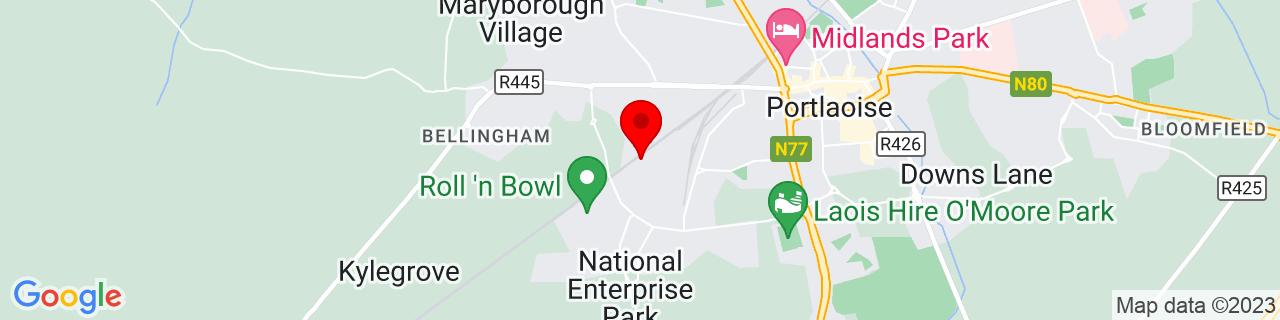 Google Map of 53.030075, -7.314947222222222