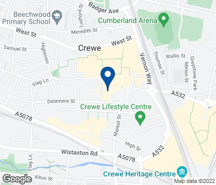 Map of 13-15 Queens Way in Crewe