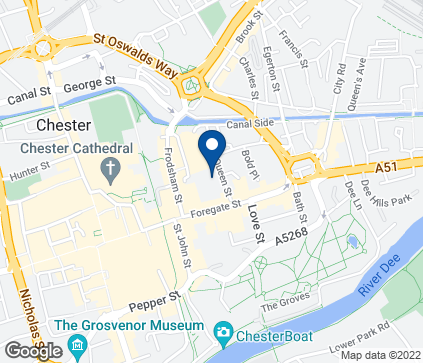 Map of 47-55 Foregate Street in Chester