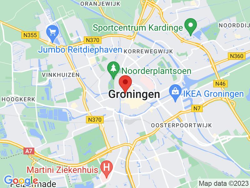 Google Maps afbeelding van onze locatie