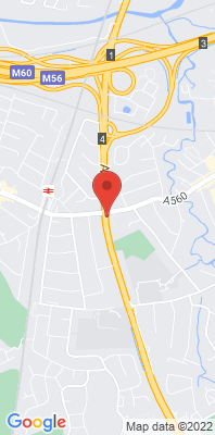 Map showing the location of the Stockport Cheadle A34 monitoring site