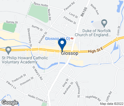 Map of 23 High Street West in Glossop