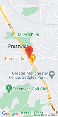 Map showing the location of the Bury Prestwich monitoring site