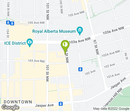 Map of 10256 100 St NW in Edmonton