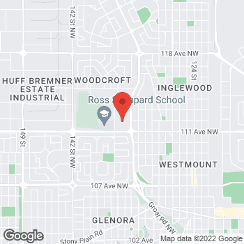 Map of LensCrafters at 111 Avenue & Groat Road, Edmonton, AB T5M 3L7