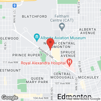 Map of Tim Hortons at 11312 109th St Nw, Edmonton, AB T5G 2T7