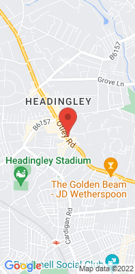 Map showing the location of the Leeds Headingley Kerbside monitoring site