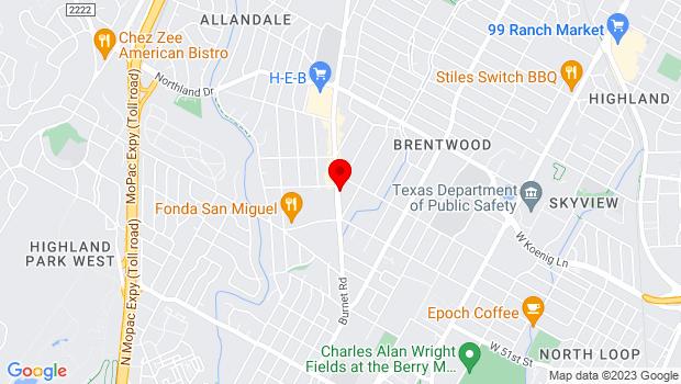 Google Map of 5353 Burnet Rd, Austin, TX 78756