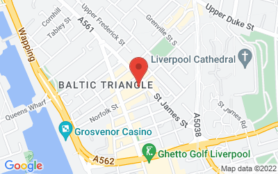 Map of 54 St James St, Liverpool L1 0AB, UK