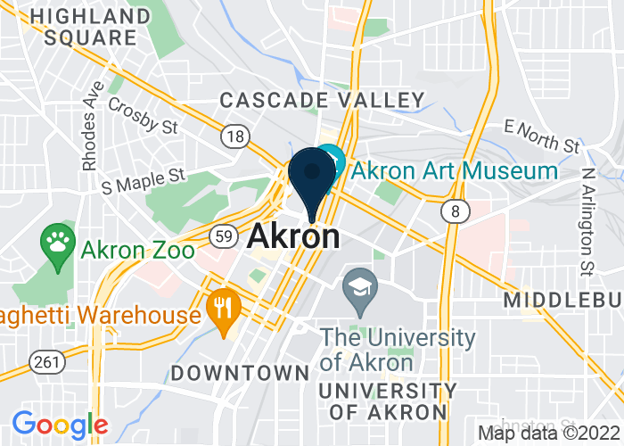 Map of 54 East Mill Street, Akron, OH 44308