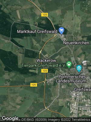 Google Map of Wackerow bei Greifswald