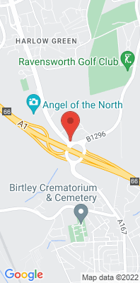 Map showing the location of the Gateshead Angel of the North monitoring site