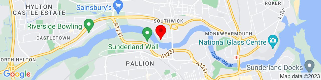 Google Map of 54.91490833333333, -1.4098111111111111