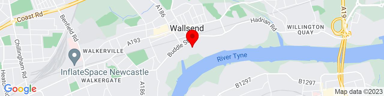 Google Map of 54.9883, -1.5279138888888888