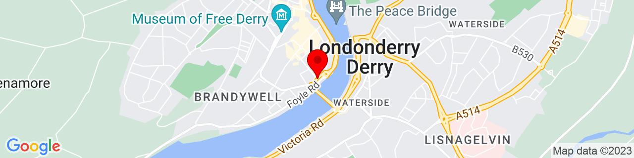 Google Map of 54.99240833333334, -7.3192305555555555