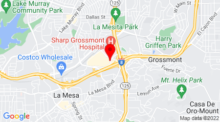 Google Map of 5500 Grossmont Center Dr Ste 440 La Mesa, CA 91942