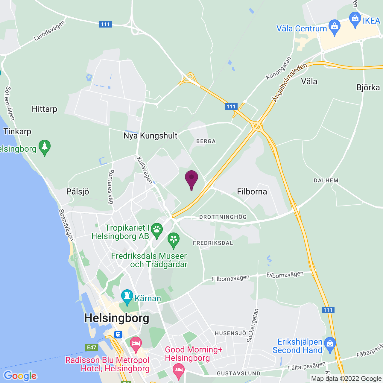Karta över Berga Allé 1