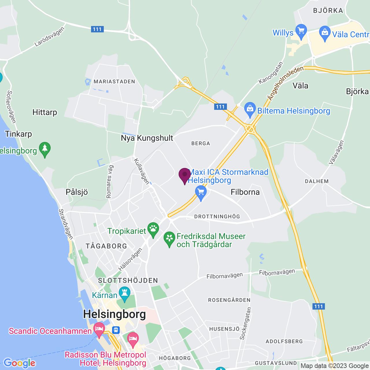 Karta över Berga Allé 3