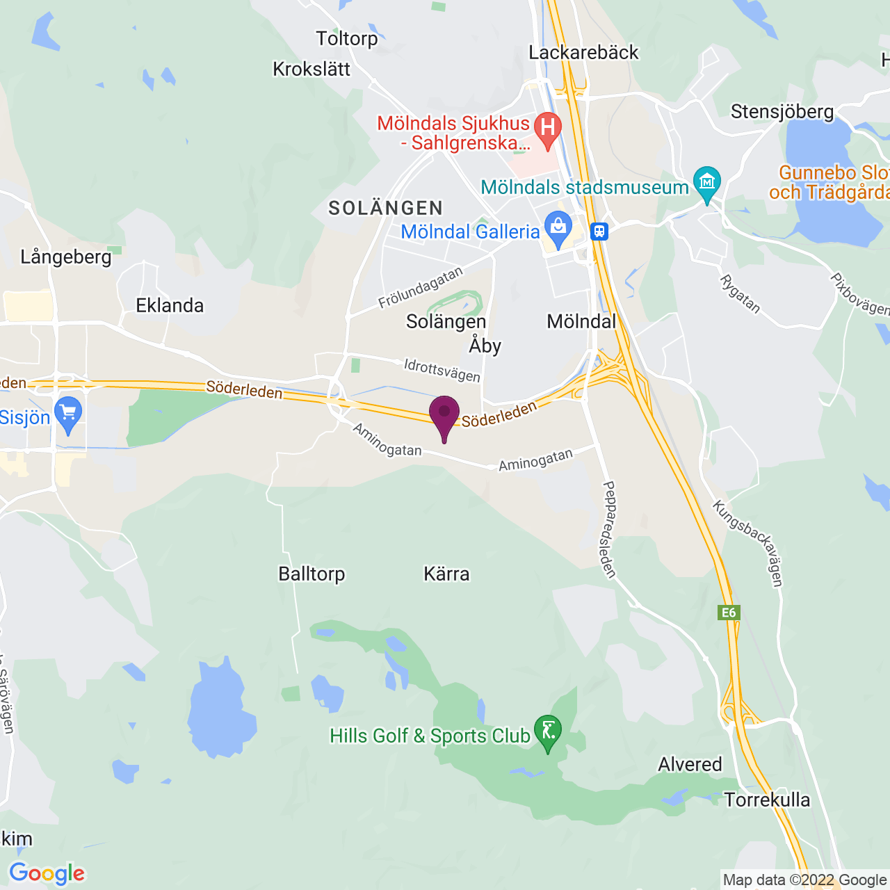 Kort över Aminogatan 22 a