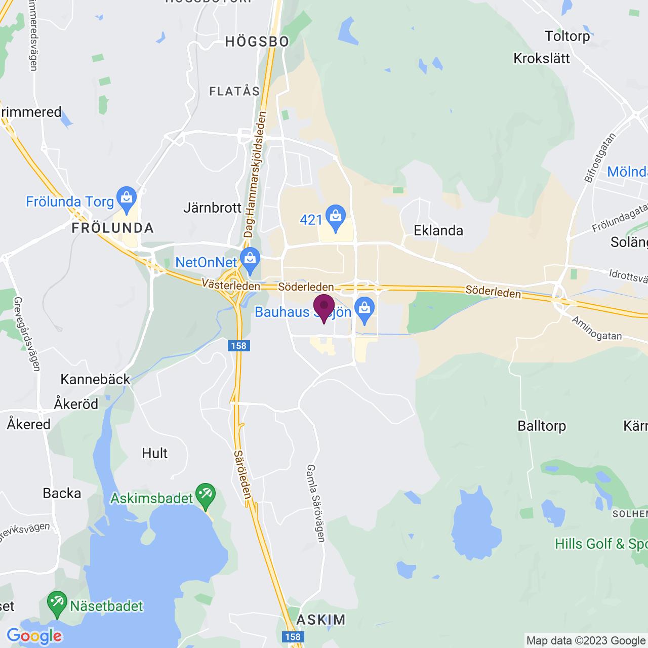Karta över Askim Verkstadsväg 14